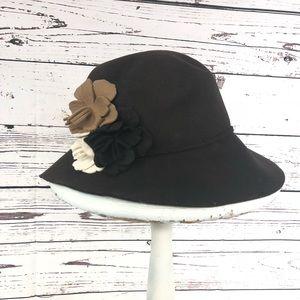 Betmar FIona Hat wool brown beige flowers hat